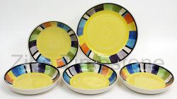 Listras amarelas de cerâmica Design quadrado Handpainted Jantar Set (TM7514)