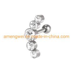 Haute qualité en acier inoxydable chirurgical 316L Stud Earring oreille Cartilage de conque oreille Helix Body Piercing bijoux AAA+CZ -1.2X6X3mm