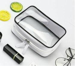 Fermeture à glissière claire Produits de toilette de luxe/WC brosse maquillage imperméable en PVC à fermeture ZIP Voyage Sac de cosmétiques