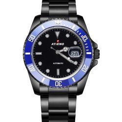 Schwarze Armbanduhr Kundengebundene Logo 5ATM Wasserdicht Leuchtende Fashion Watch Herren Sport Saphir Automatisches Edelstahl-Armband