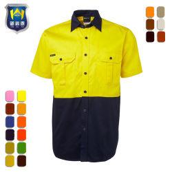 2つの調子の短い袖の綿によって編まれるあや織り作業ワイシャツ