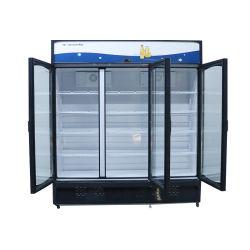 1013L el triple arco de la puerta de cristal de mostrador de exposición de Refrigeración directa congelador vertical de bebidas