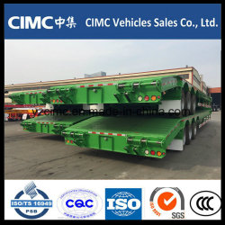 Cimc 3개의 차축 낮은 침대 트럭 트레일러 유압 경사로 70 톤