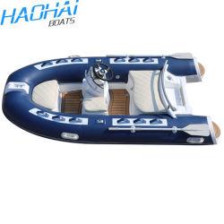 Hypalon costela 330 Costela azul com a consola central em fibra de vidro usados Pesca barco inflável
