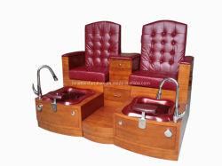 Fb001-2 hölzerne niedrige rote Pedicure Nagel-Salon-Sitze für 2 Personen