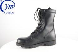 El negro de la policía de cuero auténtico botas de combate militar táctico del ejército