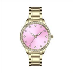 Het Horloge van de Dames van de Sport van de in het groot Mensen van het Leer van het Kwarts van de Diamant Waterdichte (gelijkstroom-1312)