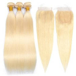 Alinybeauty #613 blonde cheveux humains Bundles avec dentelle fermeture