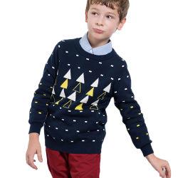 OEMによって編まれる綿のカーディガンの子供は男の子の学校のセーターをからかう