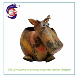 De Metal personalizados Animal Vaca Maceta para decoración de jardín