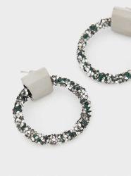 粋な方法フラッシュダイヤモンドの水晶創造的な円のイヤリングの宝石類