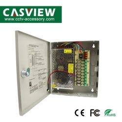 Caja de alimentación 12 V 10 A 9CH Caja de fusibles de CCTV Reinicio automático de protección de sobretensión de distribución de la cámara