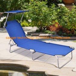 Sillón cama plegable relajante con protector solar portátil al aire libre sillón reclinable W/ajustable Recostada, asiento de la Piscina Patio Garden Beach