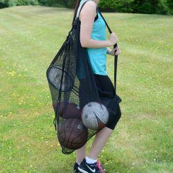 Portable sac transparent à fermeture éclair Maille grand sac de football SAC SAC SAC gros ballon de basket-ball Sports volley-ball de marchandises Sac de rangement