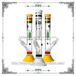 17inches Rokende Waterpijp van het Glas van de Buis van de Waterpijp van de Basis van Perc van de schroef de Rubber Rechte Percolater Geblazen Gele