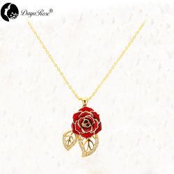 Rosa roja de hoja doble collar (rosa fresca)