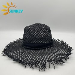 2021 Fashion malha preta de seda preta orla da Praia de alta qualidade Chapéu de Palha