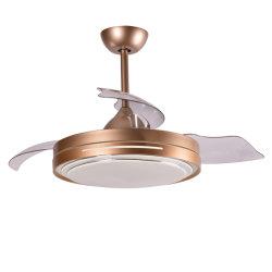 Novo design de fábrica capota lâminas ocultas ventilador de teto com luz LED e controlo remoto DC cobre puro Ventilador acabamento dourado