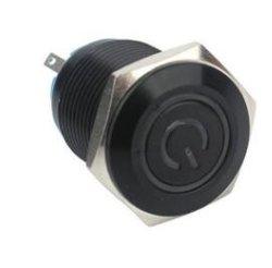 Fbmsw16112 16mm bouton en métal étanche anneau LED de l'interrupteur lumière Black-Shell