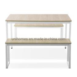 長方形のホームダイニングテーブルの家具は現代デザインのベンチとセットした