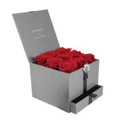 Tiroir de gros de fleurs fraîches de luxe personnalisé Box Boîte cadeau de fleur artificielle de l'emballage