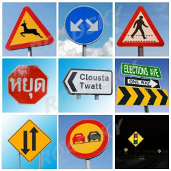 A segurança do tráfego rodoviário em branco sinais de alerta de símbolos