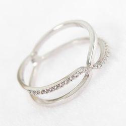 Form-SchmucksachenRhodium, der Diamant-Schmucksache-einfachen Querring des Sterlingsilber-925 überzieht