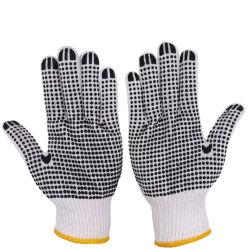 I guanti di funzionamento laterali dell'un cotone punteggiati PVC lavorati a maglia PVC