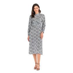 Novo Design Maquete Vintage Pescoço mangas longas MIDI vestido de mulher