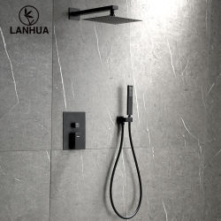 USA UPC monté sur un mur noir mat dissimulé la salle de bain Square tête en plastique de pluie Shoewr part Douche Salle de bain avec douche à main robinet douches