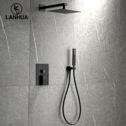 UPC للولايات المتحدة الأمريكية مربع غرفة حمام مخفي على الحائط أسود غير لامع دش يدوي مصنوع من البلاستيك المطري وحمام صنبور ودش دش يدوي