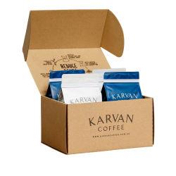 Castanho personalizado impresso em frente e verso chá dobrável para grãos de café Kraft papelão corrugado Mailing transporte transporte de papelão caixa de embalagem