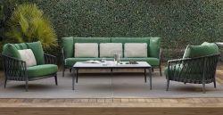 Corda stabilita del rattan di svago del sofà di svago della corda tessuta blocco per grafici di alluminio del Lounger del patio del sofà stabilito del giardino per l'hotel domestico del salone