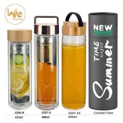 Bicchiere da 450 ml con filtro per tè in vetro borosilicato personalizzato da 500 ml con logo Coperchio di bambù