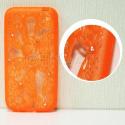 La mode Bling Butterfly Hollow Out Gel de silicone souple de conception TPU Cas Téléphone Mobile Avec Diamond pour Samsung Galaxy S4 I9500