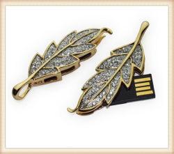 O formato de folha de metal dourado Unidade Flash USB Crystal Pen Drive (ED007)