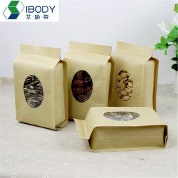 Откройте верхнюю крафт-бумаги майларовой пленки мешки для хранения данных розничных вакуумной упаковки Kraft теплового уплотнения бумаги из алюминия для кофе с овальными окна