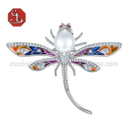 Dragonfly Silver Brooch Animal Pearl Brooch grand libellule Bijoux émail colorés des axes d'insectes Mode bijoux