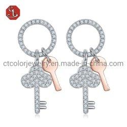 Versão coreana Keys Brinco requintadas jóias de prata Fashion 925 Sterling Silver Bonitinha brincos