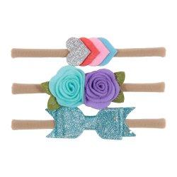 Baby Girl Stirnbänder - 3 Stück Soft Elastic Nylon Stirnband Zubehör für Neugeborene, Kleinkinder - Haarbänder & Krawatten Esg14237