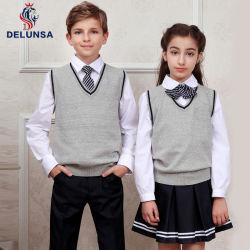 Commerce de gros de l'hiver uniforme scolaire personnalisé Kid gilet col V pull