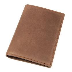Ficha castanha de elevada qualidade em pele de vaca passaporte RFID Wallet