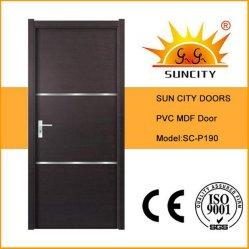 Black Walnut folheado de PVC Porta de quarto com tiras de alumínio (SC-P190)
