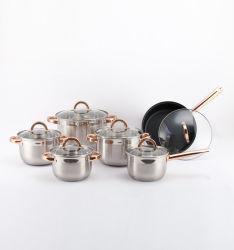 12 PCSのガラスふたとの焦げ付き防止のステンレス鋼の最もよい価格の調理器具の誘導
