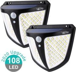 Солнечного Света для использования вне помещений 108 светодиодов, солнечной стены безопасности с 3 режимами подсветки лампы датчика движения IP65 водонепроницаемый, простая установка на путь, гараж, задний двор