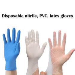 Médicos descartáveis nitrilo cirúrgica luvas estéreis PVC Exame de látex de vinil exame gratuito Guantes luvas de látex EN 14683 EN 455 não médicos