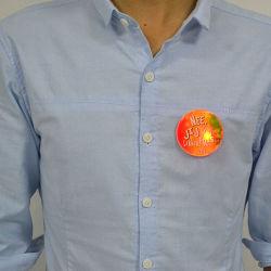 La publicidad del Partido Linli intermitente de forma personalizada la insignia de epoxi, insignia de la ropa LED, LED Luz del botón con el logotipo del fabricante Imprimir