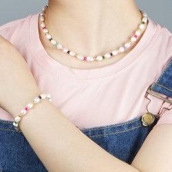 패션 여성용 Mlgm 절묘한 Real Pearls 2021 트렌디한 목걸이 럭셔리 자연 펄 레인보우 비드 보석 파인 피어싱 보석 담수 진주 목걸이