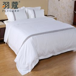 Brown Hotel de lujo teñido de hilados de algodón 100 Ropa de cama Ropa de cama plana