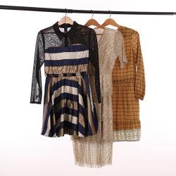 Bunte Dame Fashion Long Cotton und Seide-Kleid